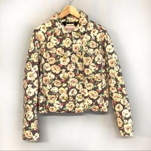 Juicy Couture pink cream Floral puffer jacket M